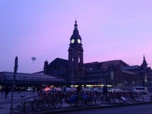 Hamburg-Fotos: Haupbahnhof bei Sonnenuntergang
