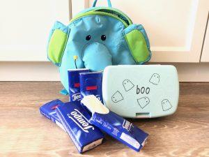 Kita-Rucksack mit Brotdose und Taschentüchern